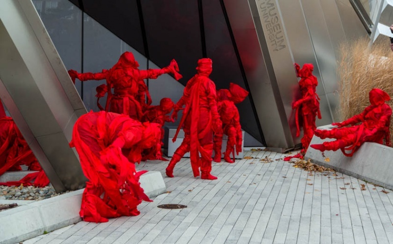 Jelili Atiku Performs Red Day (In the Red Series #17) at the Broad MSU. Photo by Aaron Word